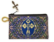 Byzantine Cross Rosary Prayer Beads Tapestry Pouch Keepsake Holder Purple Blue