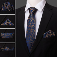 USA Men's Silk Tie Set Classic Navy Blue Necktie Woven Necktie Business Formal