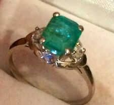 Gorgeous Natural Green Colombian Emerald & Diamonds 14K White Gold Ring