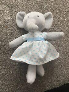 Marks Spencer M&S Grey Elephant Blue Spotty Dress Soft Plush Cuddly Toy 22298263