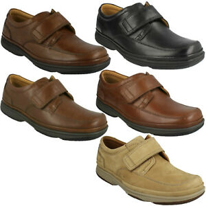 MENS CLARKS SWIFT TURN HOOK & LOOP LEATHER CLASSIC WORK SMART CASUAL SHOES SIZE