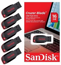 Lot of 5 SanDisk 16GB Cruzer Blade USB Thumb Pen Flash Drive Memory Stick SDCZ50