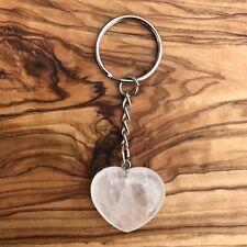 Natural Clear Quartz Heart Crystal Keyring 25mm Master Healing Gemstone