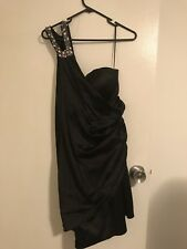 Seduce Black Off The Shoulder Crystal Strap Dress Size 14 Brand New With Tags