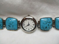 Silvertone & Turquoise Colored Watch, Metal Link Bracelet Band