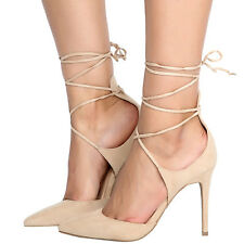 New Women Pointy Toe Strappy Self-Tie Leg Wrap Lace Up Stiletto Heel Pump Sandal