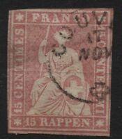 Svizzera - 1854/62 - 15 rappen rosa - Unificato n.28 - usato