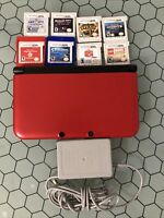 Nintendo 3DS XL Handheld Console Red And Black SPR-001(USA) With 8 Games Works