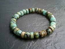 Mens Womens Buddha Bracelet African Turquoise Gemstone Urban Jewellery UK Seller