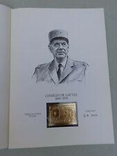 PREMIER JOUR CHARLES DE GAULLE FRAPPE SUR OR BATTU 23 CARATS EXEMPLAIRE 629