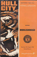 Hull City Tigers Official Programme v Middlesbrough August 31 1968