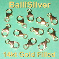 100pcs 14kt GOLD FILLED 10mm Pear Shape Trigger LOBSTER CLAW CLASPS w Jump Rings
