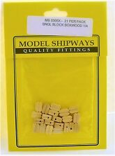 "Model Shipways Fittings MS 0305X Boxwood Sngl Blocks 1/4"" (7MM).  20 Per Pack"