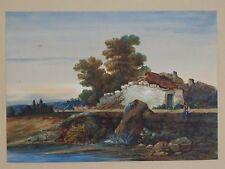 Ancien tableau peinture aquarelle maison bord de mer A IDENTIFIER