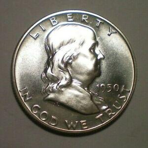 1950 Franklin Silver Half Dollar AU Uncertified