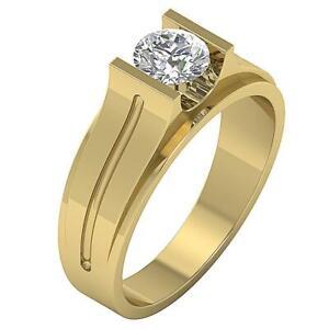 Solitaire Men's Engagement Genuine Diamond Ring I1 G 1.25 Carat 14K Yellow Gold