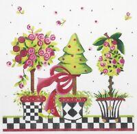 "Needlepoint Handpainted Kelly Clark PINK Posies Topiary 9"""