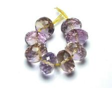 8 pcs AMETRINE AMETHYST 9mm Faceted Rondelle Beads AAA NATURAL