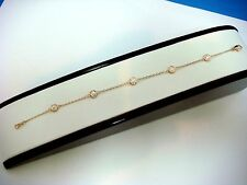 "14K GOLD ""DIAMONDS BY THE YARD"" 0.70CT 5 STATIONS BRACELET 6.5-7 INCH ADJUSTABLE"