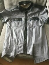 Grey Leather Shirt - With Blue Piping