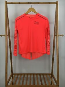 Under Armour Girl's Blaze Coral Red V-Neck Loose Fit Athletic Shirt Size YOUTH L
