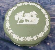 Green Wedgwood Jaspar Ware Lidded Pot Neo Classical scene & Oak leaves Signed