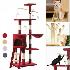 Multilevel Cat Tree Scratching Post Kitten Climbing Tower Activity Centre Large