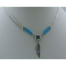 3 Strand Sterling Silver Blue Sleeping Beauty Turquoise Concho Heshei Necklace