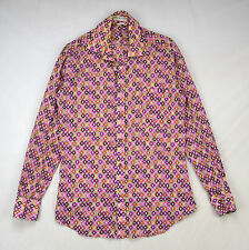EMILIO PUCCI Vtg 70s Mod Disco Print Oxford Button Down Retro Club Shirt Mens XS