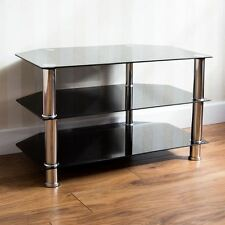 Glass TV Stand Black Television Entertainment Media Plasma Unit By Home Discount