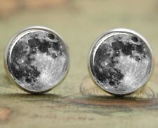 Cute Full Moon Ear Rings Vintage Style Silver Colour Stud Earrings Round Space