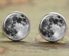 Lindo Luna llena Orejeras Estilo Vintage Color Plata Pendientes con Pasador Redondo espacio