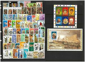 Gibraltar Selection of 67 Different Stamps & 2 Sheets All Mint Unhinged #6-33