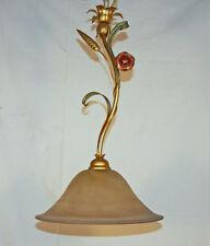 LAMPADA SOSPENSIONE LAMPADARIO ART.760 FERRO METALLO VETRO CRISTALLO ORO ANTICO