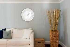 Stunning Modern Large 50cm Glass Mirror Wall Clock Silver Bling Glitter Detail