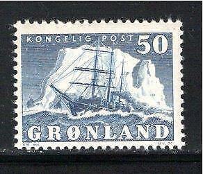 KL5758 1950 Greenland Stamp - Scott #35 Mint OG NH $50.00 - Ship & Iceberg