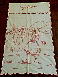 Cache torchon Alsace, neuf broderie rouge fait main, couple folklore Vintage