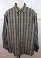Haggar Mens Long Sleeve Dress Shirt Luxury Microfiber XL Brown Madras Plaid