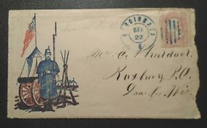 Historical Civil War patriotic cover #64 stamp used with listed soldier letter