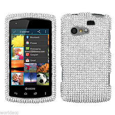 For Kyocera Rise C5155 Crystal Diamond BLING Hard Case Snap Phone Cover Silver