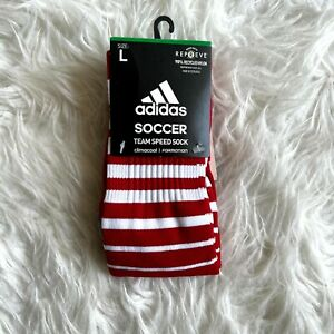 adidas Soccer Team Speed Sock Large Red White Stripe Climacool Formation NEW