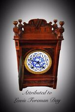 W And H Walnut Aesthetic Movement Mantle Clock attributed to Lewis Foreman Day