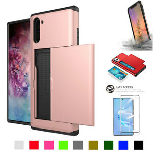 Hybrid Wallet Card Holder Rugged Bumper Case+Screen Protector for Galaxy NOTE10+
