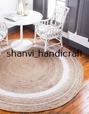 8x8 Feet Round Braided Natural Handmade Hand Woven Area Rug Home Decor Floor Mat