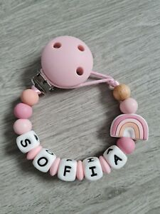 Personalised Rainbow Dummy Clip Pink