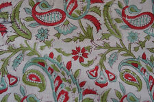 Indian Cotton Paisley Hand Block Print Fabric 5 Yard Running Loose Sewing Craft