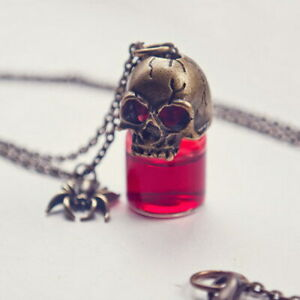 Gothic Retro Skull Spider Red Bottle Glass Pendant Necklace Halloween Jewelry