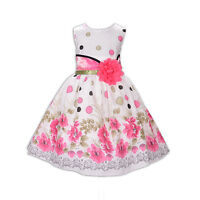 New Girls Flower Party Dress in Red Hot Pink Blue 5 6 7 8 9 10 Years