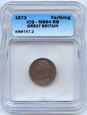 1873 Great Britain Farthing. ICG Graded MS 64 RB. Lot #2524