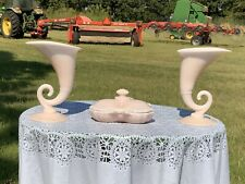 CAMBRIDGE CROWN TUSCAN 3-PIECE 2 Cornucopia Vases & Covered Dish Buffet Vanity